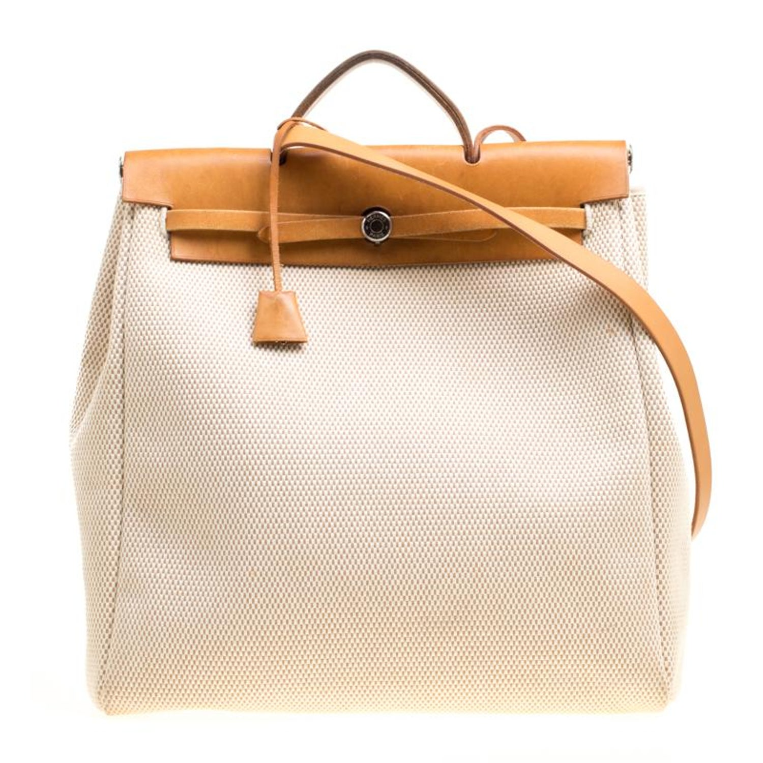 34ff6fa611 Hermes Dark Tan Beige Leather and Canvas Herbag Zip 39 Bag For Sale at  1stdibs