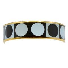 Hermes Deco Dot Enamel and Gold Plated Bangle Bracelet