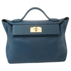 Hermes Deep Blue Togo Leather Gold Hardware 24/24 29 Bag
