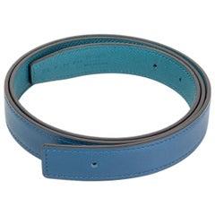 HERMES Deep Blue / Vert Bosphore 24mm Reversible Belt Strap 90 Swift / Epsom