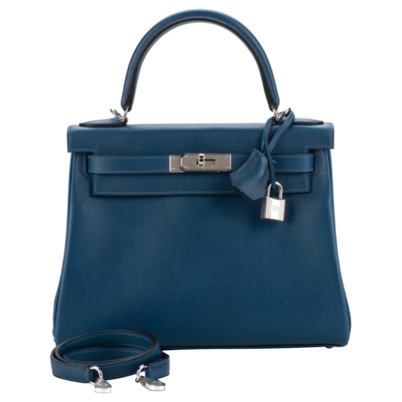 Hermes Deep Blue Vert Bosphore  Kelly 28 Bag