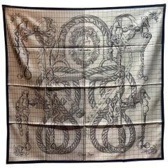 Hermes Della Cavalleria Finesse Silk Scarf in Cream and Navy