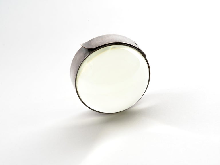 Hermes Desktop Magnifier Paperweight in Silver, 1960s In Good Condition For Sale In Brooklyn, NY