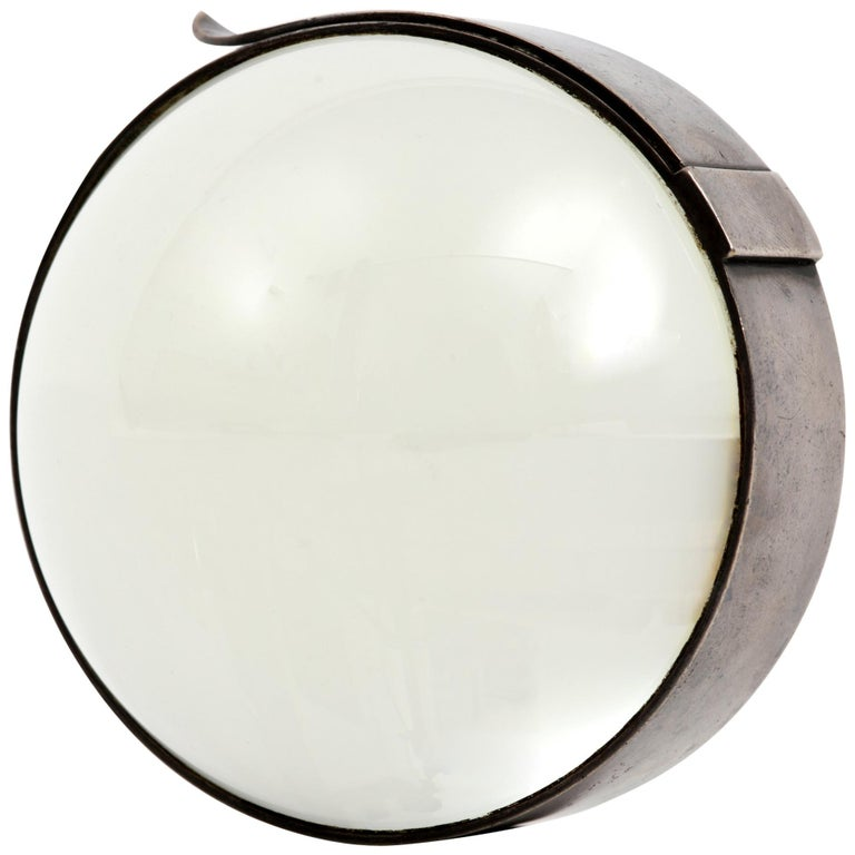 Hermes Desktop Magnifier Paperweight in Silver, 1960s For Sale