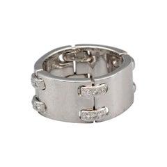 Hermès Diamond 18k White Gold Band Ring