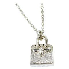 Hermès Diamond and 18k Birkin Amulette Pendant Necklace