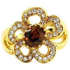 Hermes Diamond and Citrine Flower Ring in 18 Karat Yellow Gold