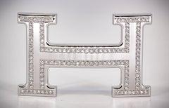 HERMES Diamond and White Gold Belt Buckle