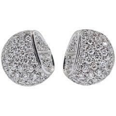 Hermes Diamond and White Gold Stud Earrings