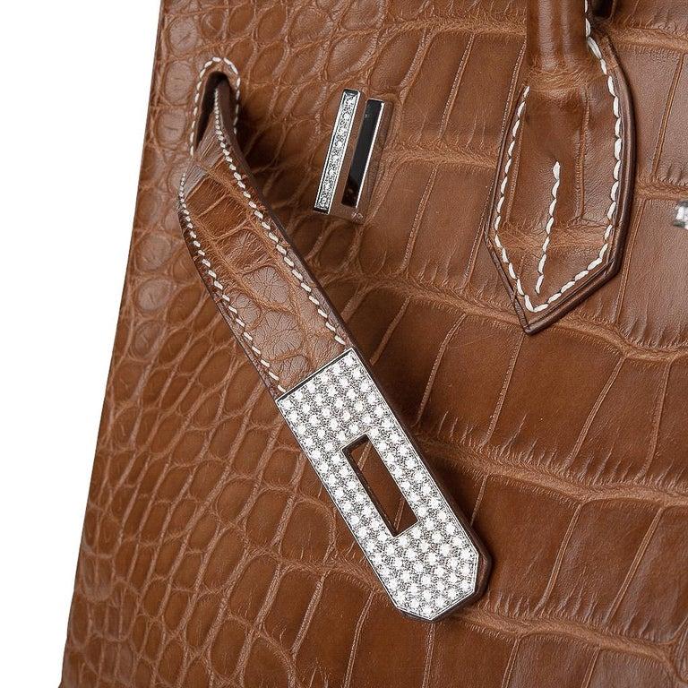 Hermes Diamond Birkin 35 Bag Fauve Barenia Matte Alligator Rare 6
