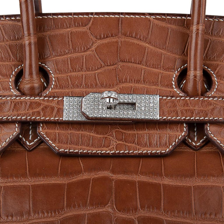 Hermes Diamond Birkin 35 Bag Fauve Barenia Matte Alligator Rare 8