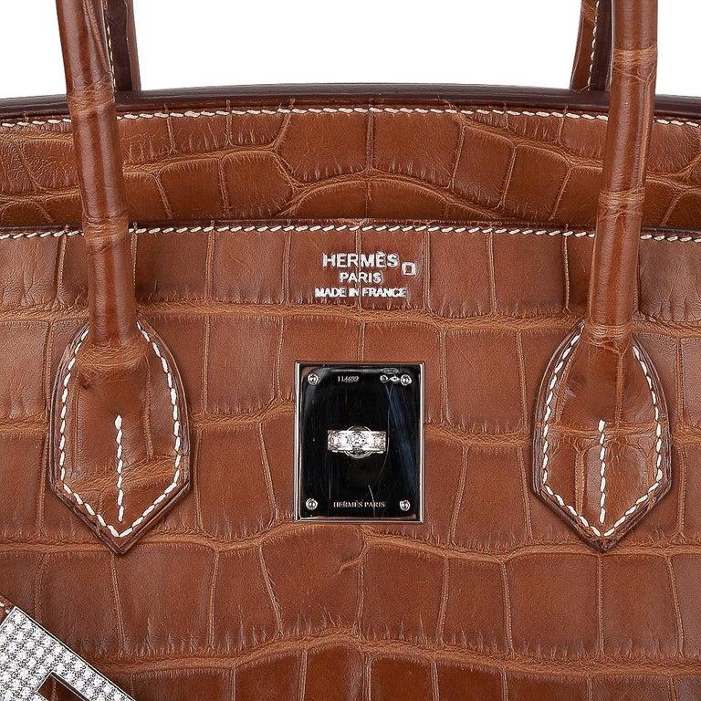 Hermes Diamond Birkin 35 Bag Fauve Barenia Matte Alligator Rare 9
