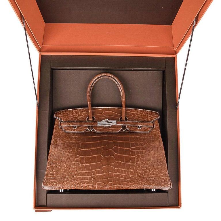 Hermes Diamond Birkin 35 Bag Fauve Barenia Matte Alligator Rare 10