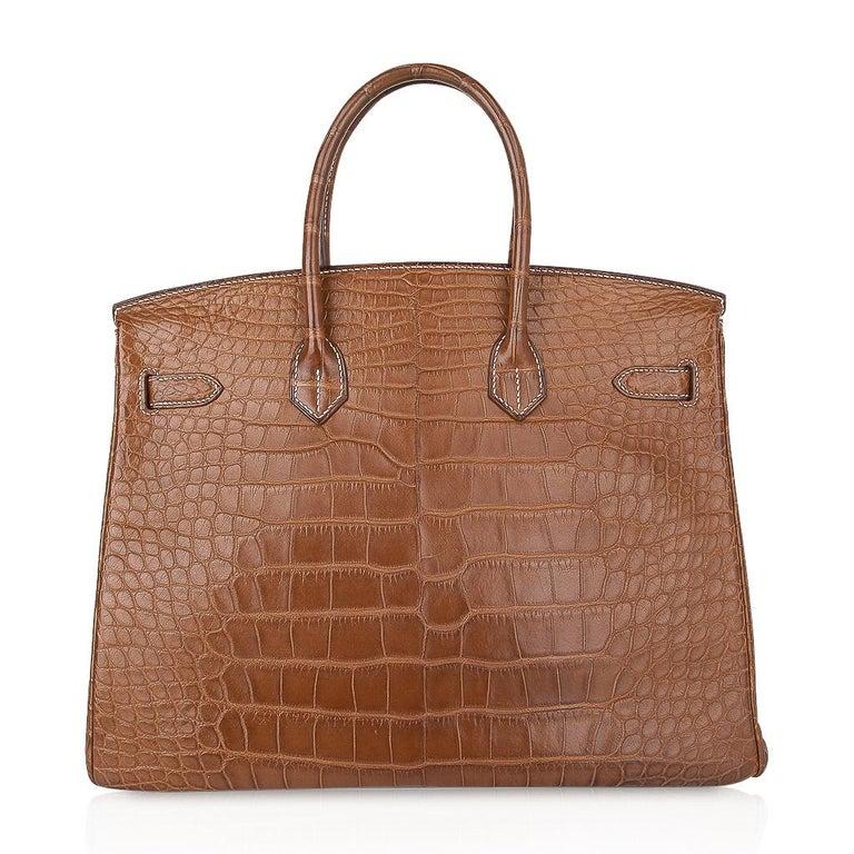 Hermes Diamond Birkin 35 Bag Fauve Barenia Matte Alligator Rare 11