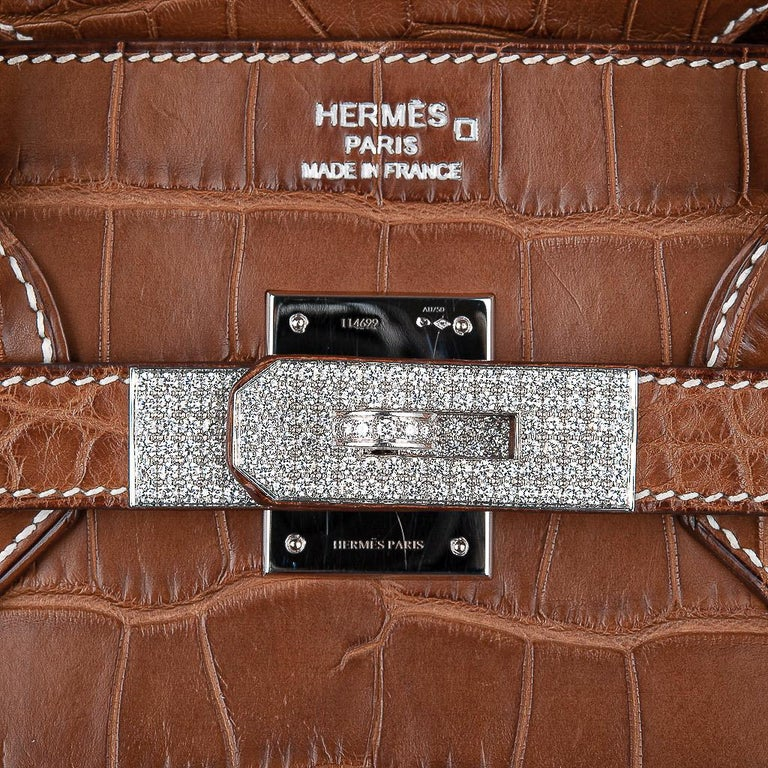 Brown Hermes Diamond Birkin 35 Bag Fauve Barenia Matte Alligator Rare