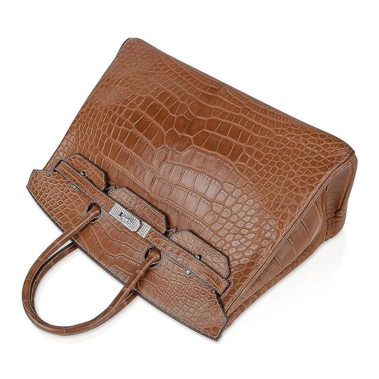 Women's or Men's Hermes Diamond Birkin 35 Bag Fauve Barenia Matte Alligator Rare