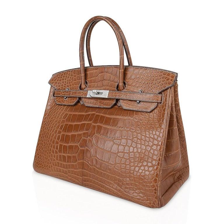 Hermes Diamond Birkin 35 Bag Fauve Barenia Matte Alligator Rare 1