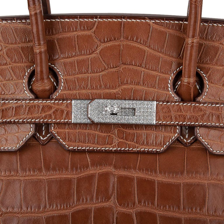 Hermes Diamond Birkin 35 Bag Fauve Barenia Matte Alligator Rare 2