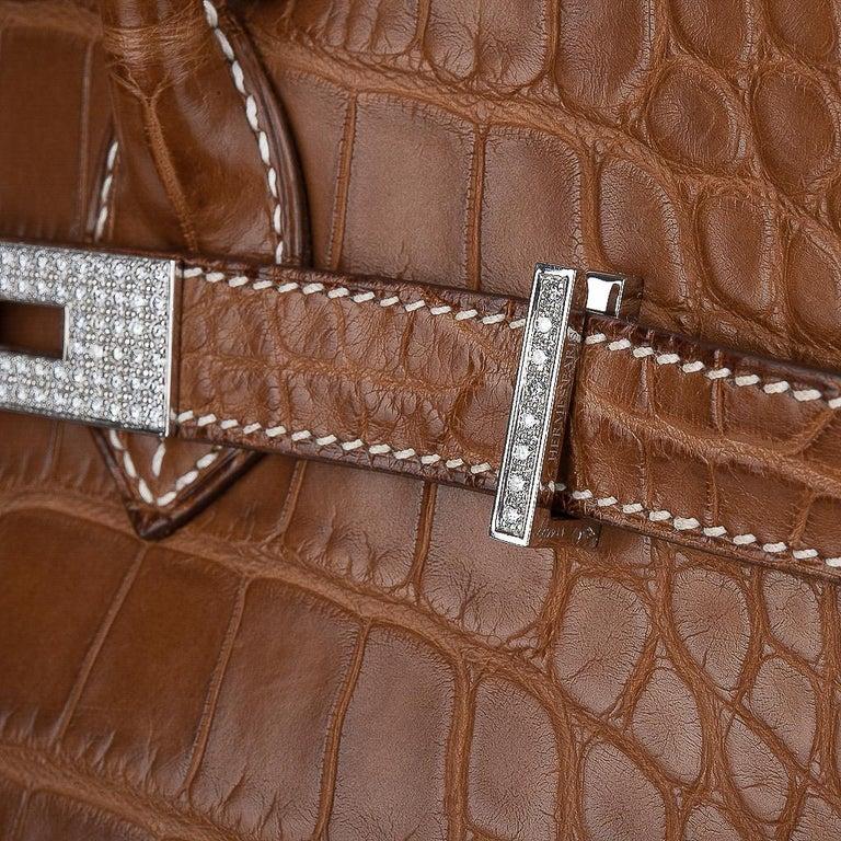 Hermes Diamond Birkin 35 Bag Fauve Barenia Matte Alligator Rare 3