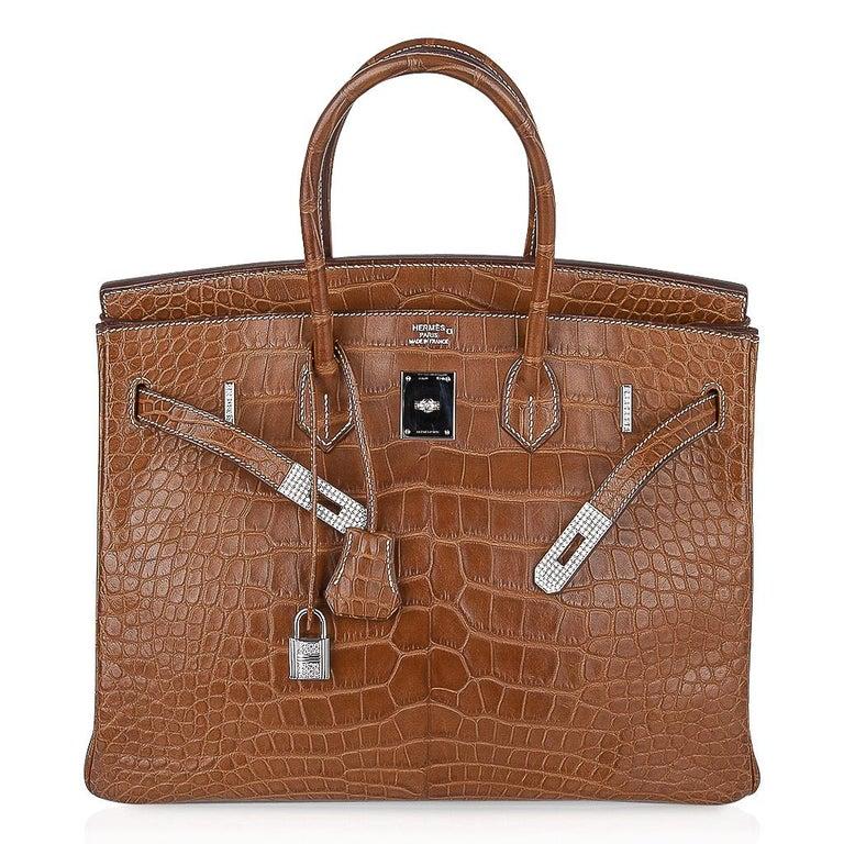 Hermes Diamond Birkin 35 Bag Fauve Barenia Matte Alligator Rare 4