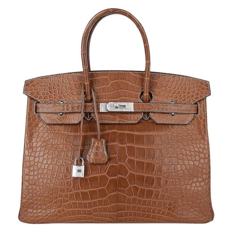 Hermes Diamond Birkin 35 Bag Fauve Barenia Matte Alligator Rare