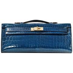 Hermès Diamond Blue Izmir Crocodile Kelly Cut Clutch