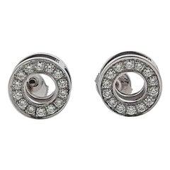 Hermès Diamond Gold Circle Stud Earrings