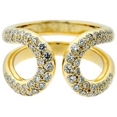Hermes Diamond Gold H Yellow Gold Ring