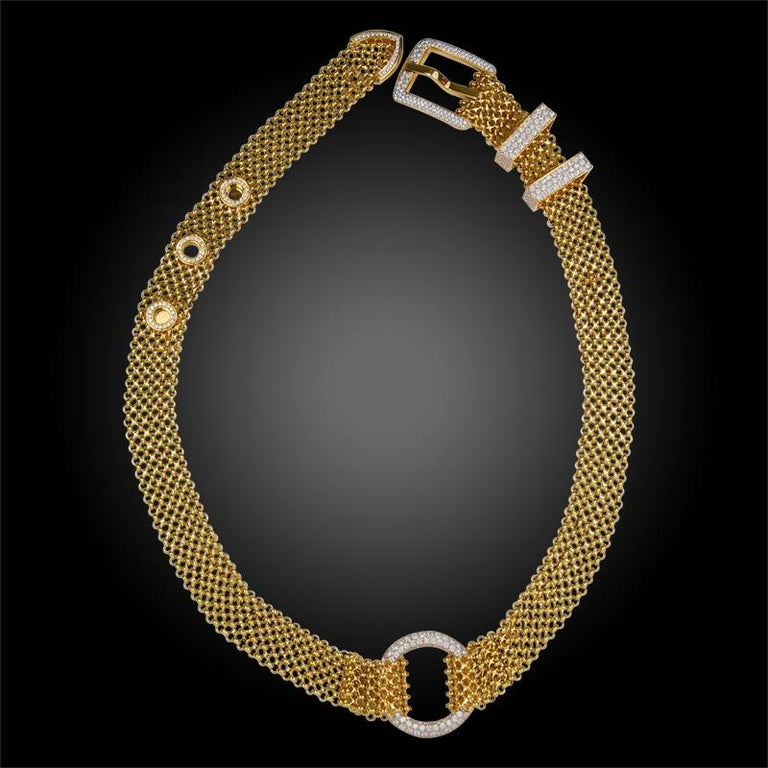 A magnificent and extremely rare piece by Hermes, designed to be worn separately as a necklace and bracelet or together as one long necklace, this exceptional set is comprised with 18k yellow gold, brilliant diamond embellished links and buckle. The