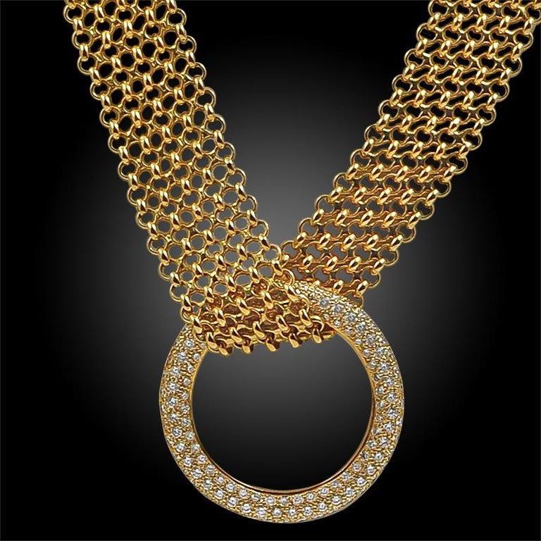 Hermes Diamond Gold Necklace and Bracelet In Good Condition For Sale In New York, NY