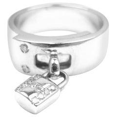 Hermès Diamond H Lock White Gold Band Ring