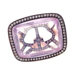 Hermes Diamond Large Amethyst Rose Gold Ring