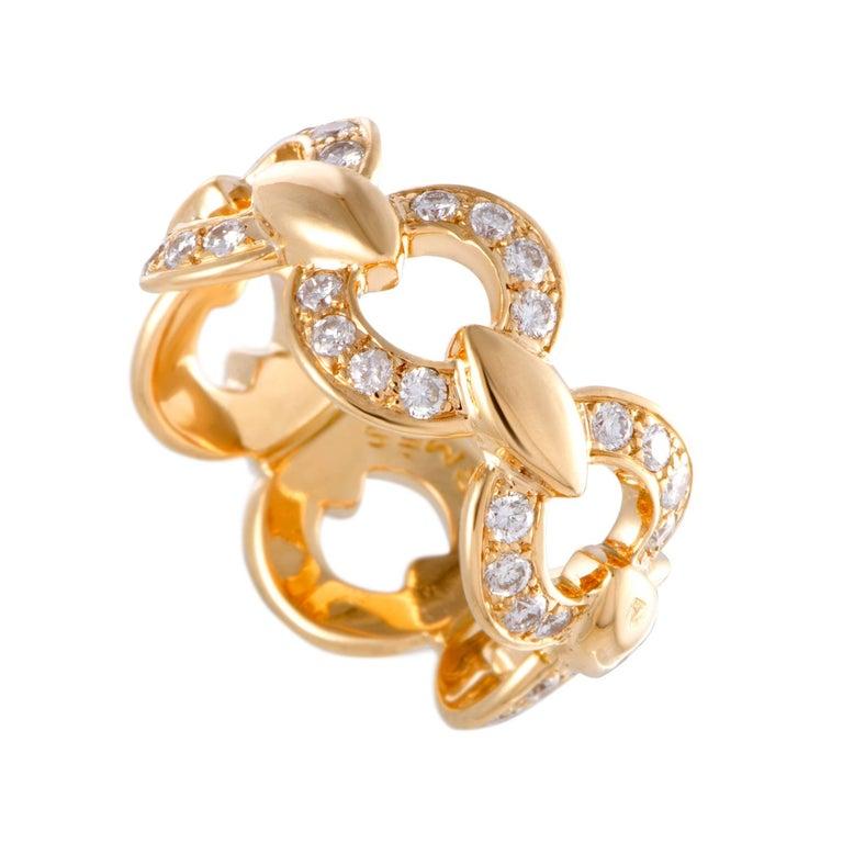 Hermes Diamond Pave Yellow Gold Band Ring