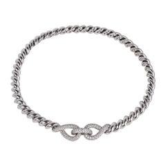 Hermes Diamond Torsade Necklace 18K White Gold Necklace New w/Box