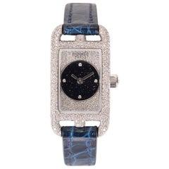 Hermes Diamond Watch Nantucket Aventurine 18Kt White Gold Limited Edition