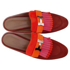 Hermès Doblis Suede Mules Rivoli Shoes Full Leather Tricolor Size 38.5