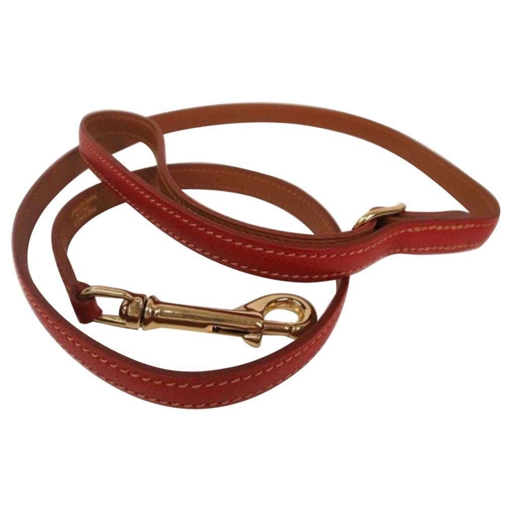 Hermes Dog Red and Brown Leather Gold Pet Dog Leash Only in Box