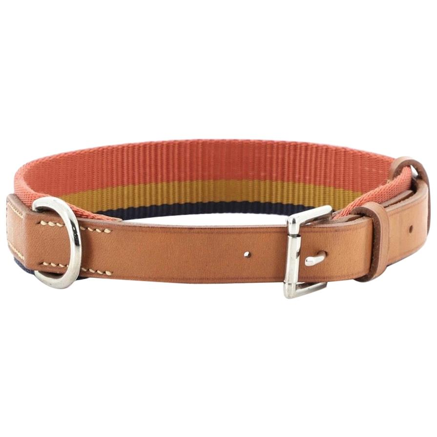 Hermes Dog Red Stripe Brown Leather Silver Pet Dog Collar in Box