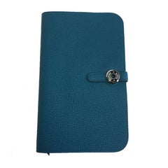 HERMES Dogon Duo Wallet Large Model Blue Togo Leather lined in Lambskin