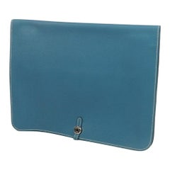 HERMES Dogon Meeting Womens clutch bag blue jean x silver hardware