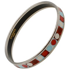 Hermes Dot Enamel and Palladium Narrow Bangle