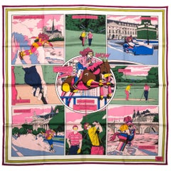 Hermes Double Face Comics Pink Scarf