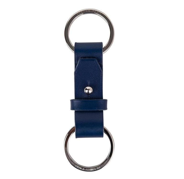 Hermes Double Jeu Voiturier Valet Key Ring Blue Sapphire Palladium New / Box In New Condition For Sale In Miami, FL