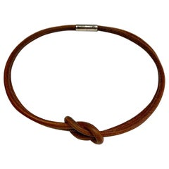 Hermes Double Leather Square Knot Necklace