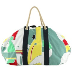 Hermes Drapeaux Au Vent Bag Printed Canvas Large