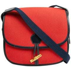 HERMES Duffle Bamboo Red And Blue Bag