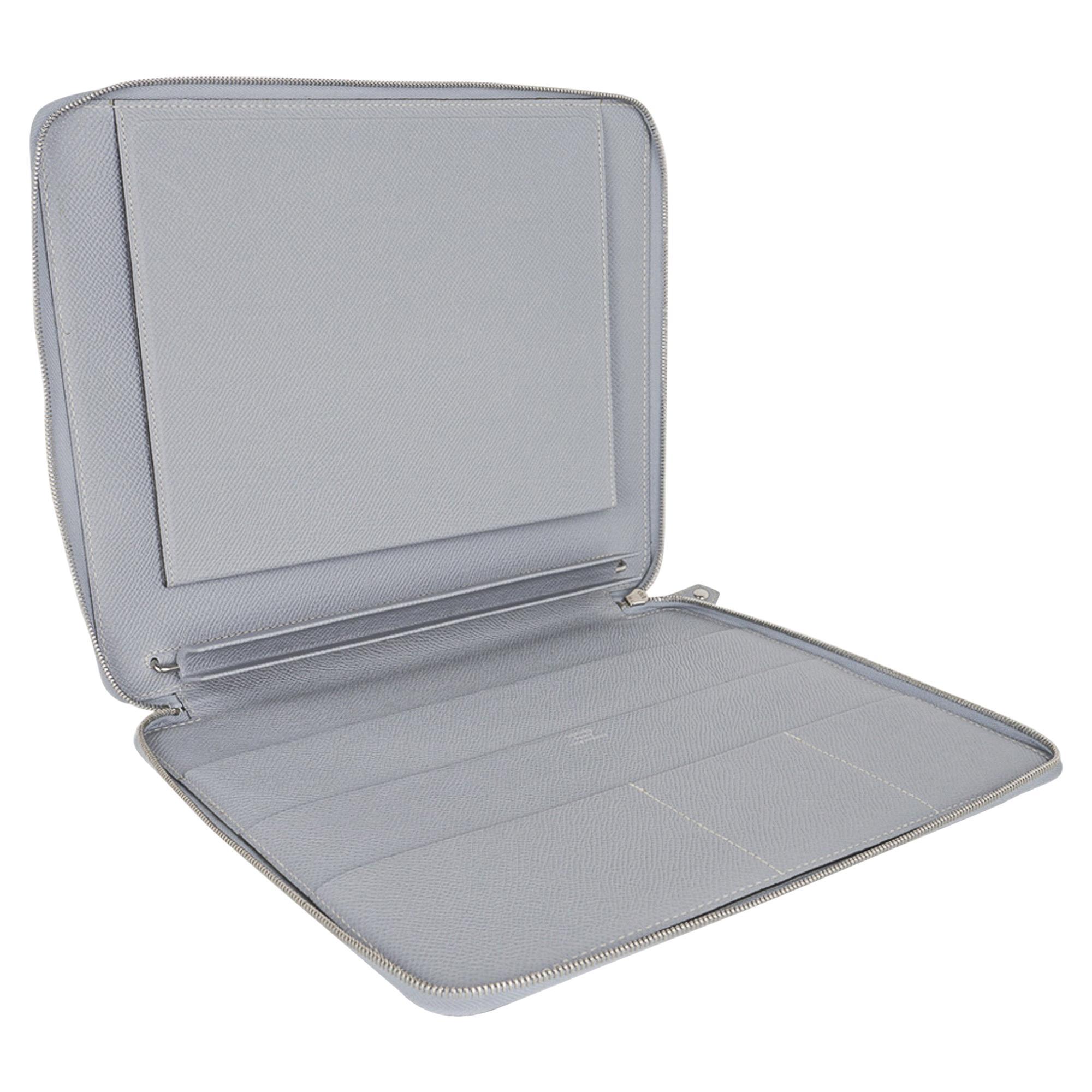 Hermes e-Zip iPad Notebook Cover Blue Glacier Epsom New