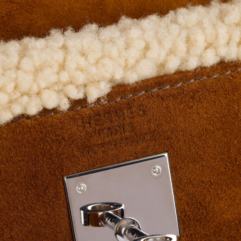 Hermès Ebene Barenia & Shearling Teddy Kelly 35cm For Sale 6