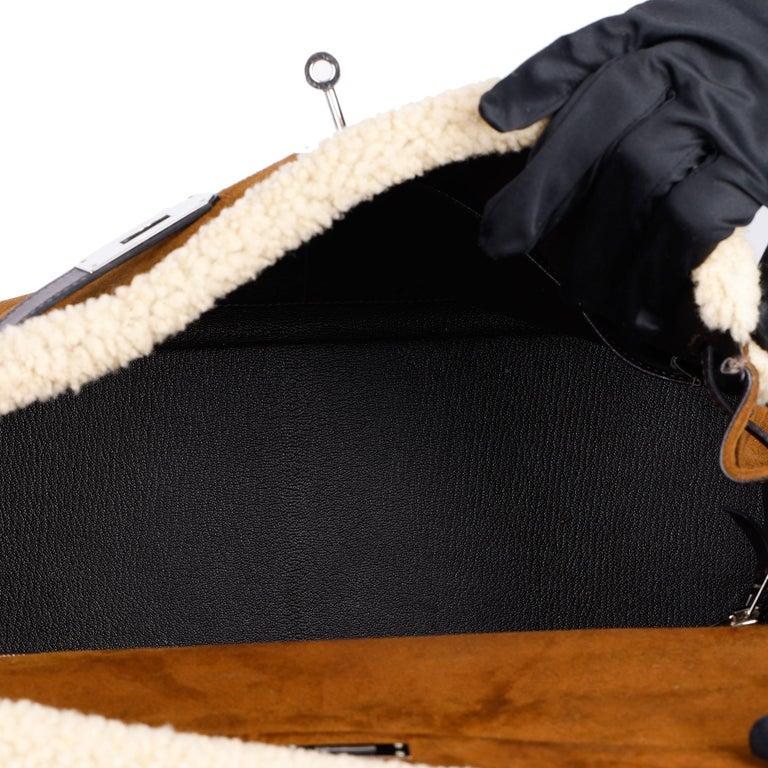 Hermès Ebene Barenia & Shearling Teddy Kelly 35cm For Sale 7