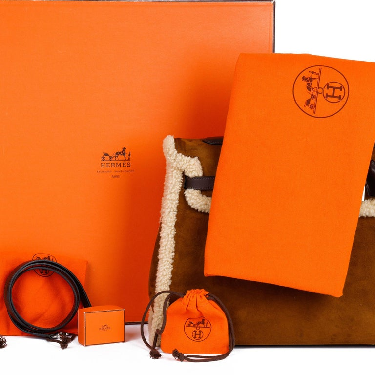 Hermès Ebene Barenia & Shearling Teddy Kelly 35cm For Sale 8